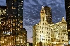 Chicago Skyline on River Chicago, IL.-